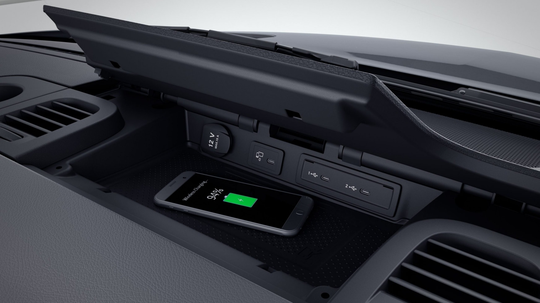 Sprinter chassis-cabine, opbergvak voor smartphones incl. Wireless Charging