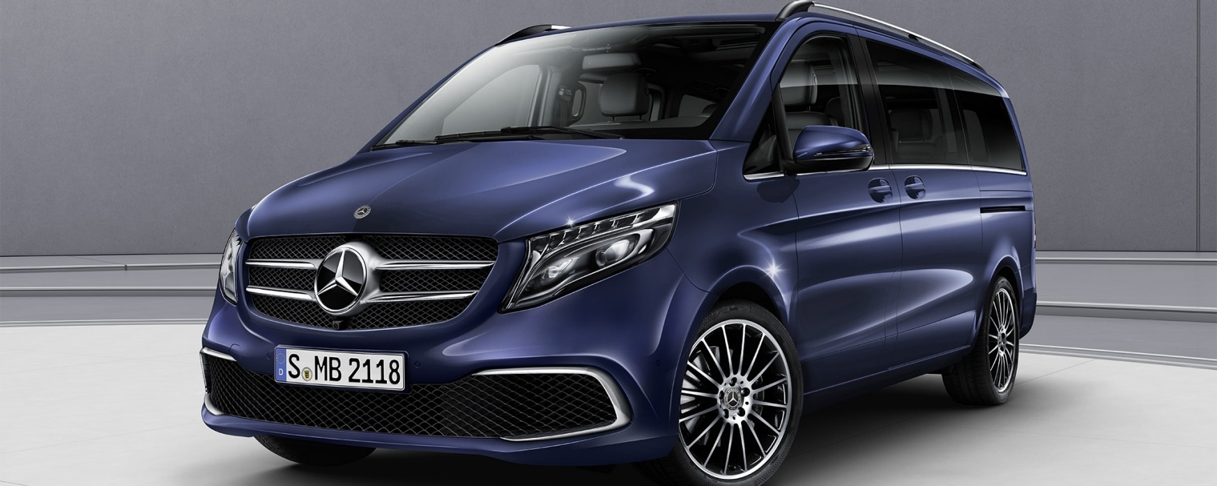 Blauwe Mercedes-Benz V-Klasse EXCLUSIVE.